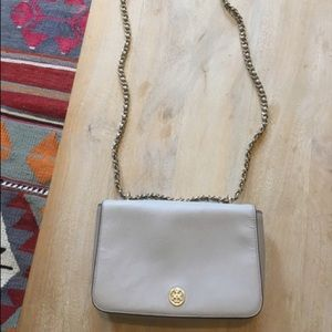Tory Burch Robinson Neutral Gray Leather Purse